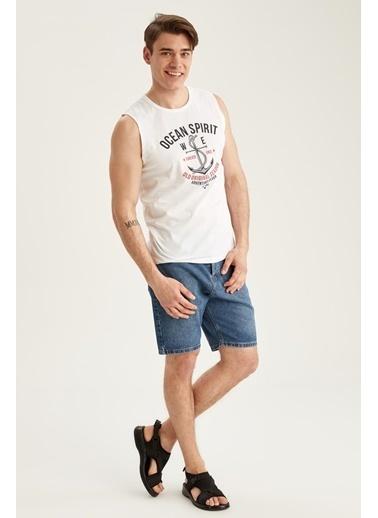 DeFacto Slim Fit Baskılı Kolsuz T-shirt Beyaz